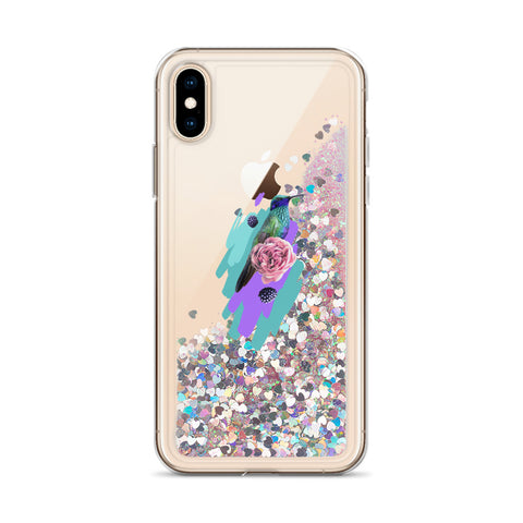 Image of Liquid Glitter Phone Case with Colibri Bird