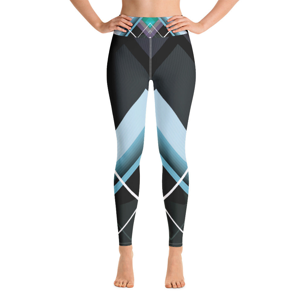 Dark Gray and Teal with Geometric Design Yoga Leggings