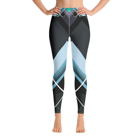 Image of Dark Gray and Teal with Geometric Design Yoga Leggings