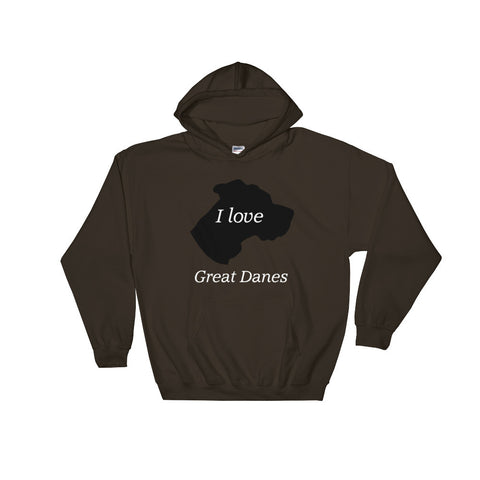 Image of I love Great Danes Hooded Sweatshirt