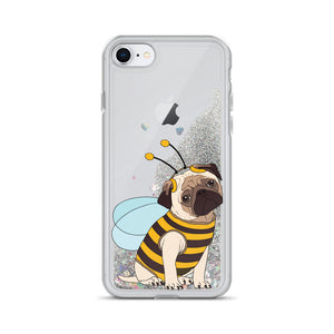 Pug in Bee Costume Liquid Glitter Phone Case