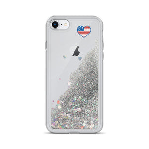 Liquid Glitter Phone Case with Love USA heart flag