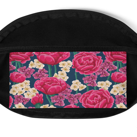 Fuchsia Retro Flowers Fanny Pack