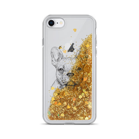 Image of Liquid Glitter Phone Case with French Bulldog