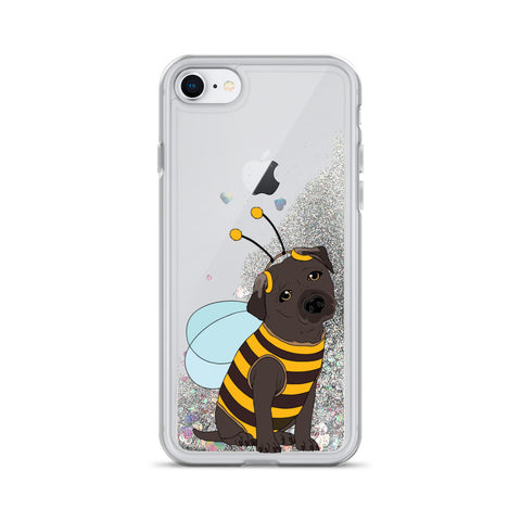 Image of Black Labrador in Bee Costume Liquid Glitter Phone Case