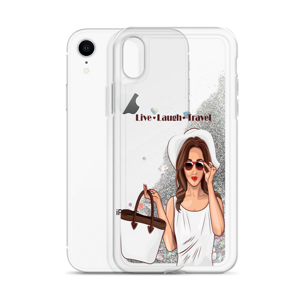 Live Laugh Travel Liquid Glitter Phone Case