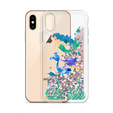 Watercolor Mermaid Liquid Glitter Phone Case