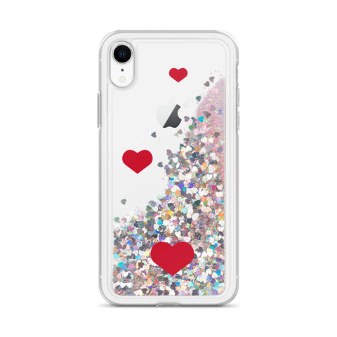 Liquid Glitter Phone Case with hearts