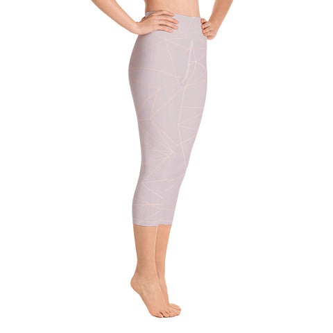 Image of Old Rose with Gold Geometric Print Yoga Capri Leggings