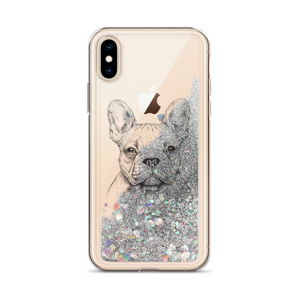 Liquid Glitter Phone Case with French Bulldog