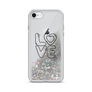 Liquid Glitter Phone Case with LOVE