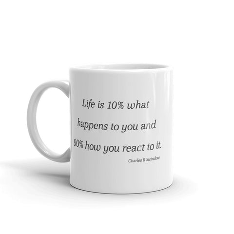 Life is 10 percent what happens to you and 90 percent how you react to it. - Mug