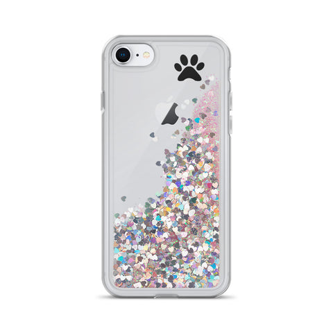 Image of Liquid Glitter Phone Case with paw print