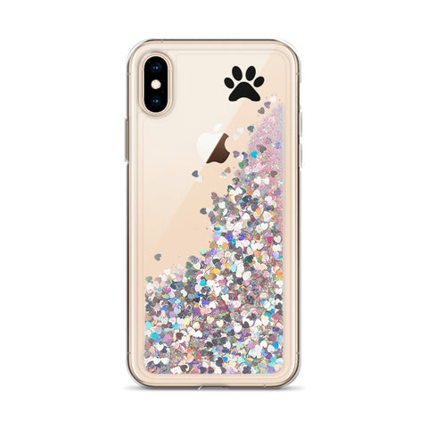 Liquid Glitter Phone Case with paw print