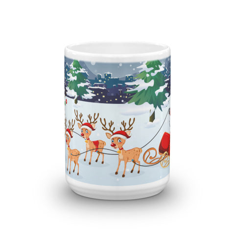 Santa on a Sled Christmas Mug