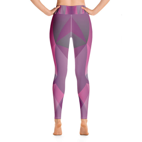 Image of Pink and Purple with Geometric Print Yoga Leggings
