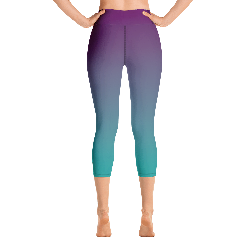Purple & Teal Ombre Yoga Capri Leggings