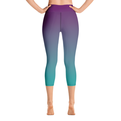 Image of Purple & Teal Ombre Yoga Capri Leggings
