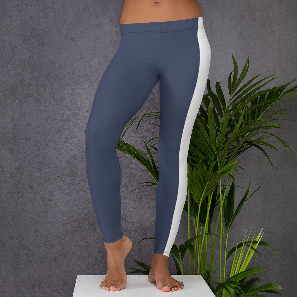 Leggings - blue with white stripe
