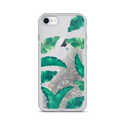Tropical Design Liquid Glitter Phone Case