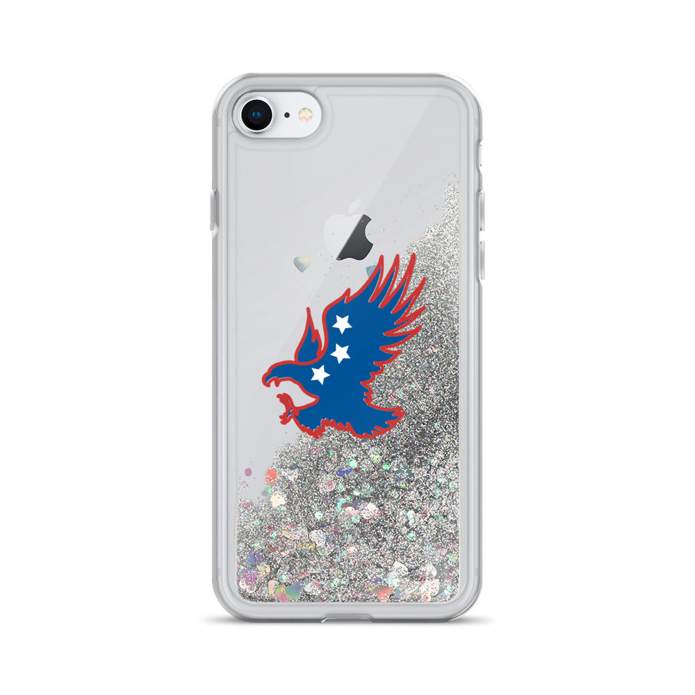 Liquid Glitter Phone Case with an American Eagle