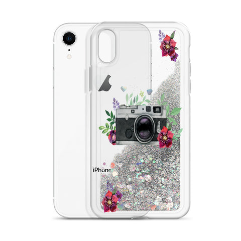 Image of Vintage Camera Liquid Glitter Phone Case