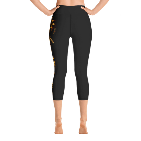 Image of Gold Dreamcatcher on Black Yoga Capri Leggings
