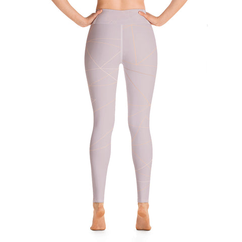 Old Rose with Gold Geometric Print Yoga Leggings