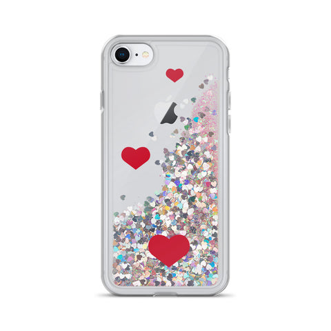 Image of Liquid Glitter Phone Case with hearts