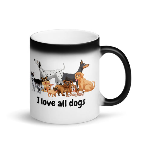 I love All Dogs Matte Black Magic Mug