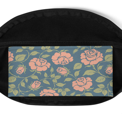 Image of Vintage Rose on Blue Fanny Pack
