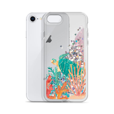 Sea Turtle Liquid Glitter Phone Case