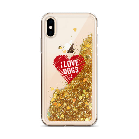 Image of Liquid Glitter Phone Case with I love Dogs