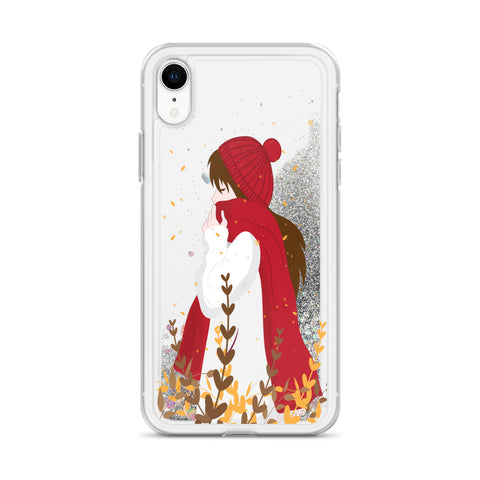 Woman in Autumn Liquid Glitter Phone Case