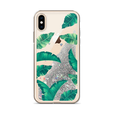 Image of Tropical Design Liquid Glitter Phone Case