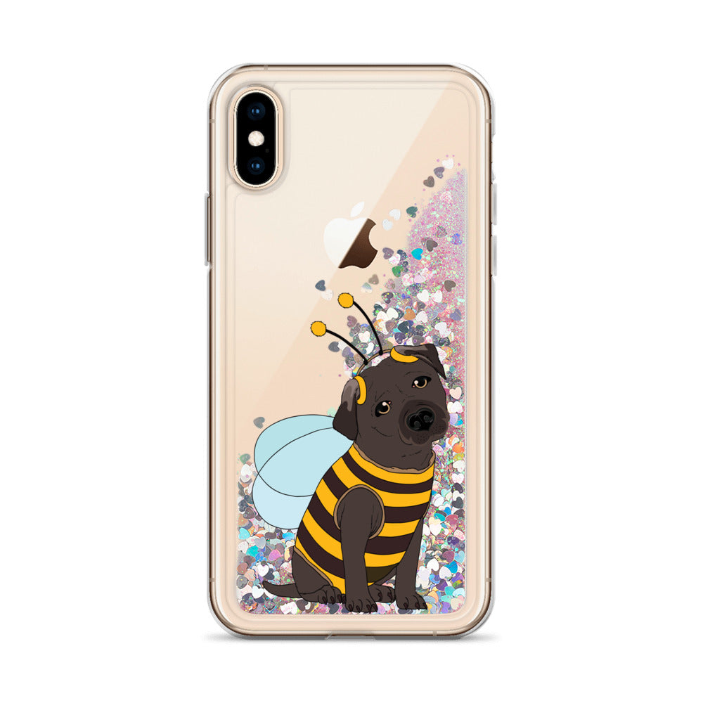 Black Labrador in Bee Costume Liquid Glitter iPhone Case