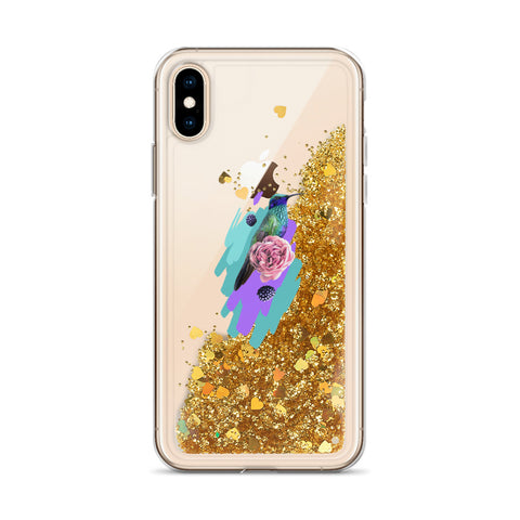 Liquid Glitter Phone Case with Colibri Bird