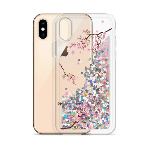 Cherry Blossom Liquid Glitter Phone Case