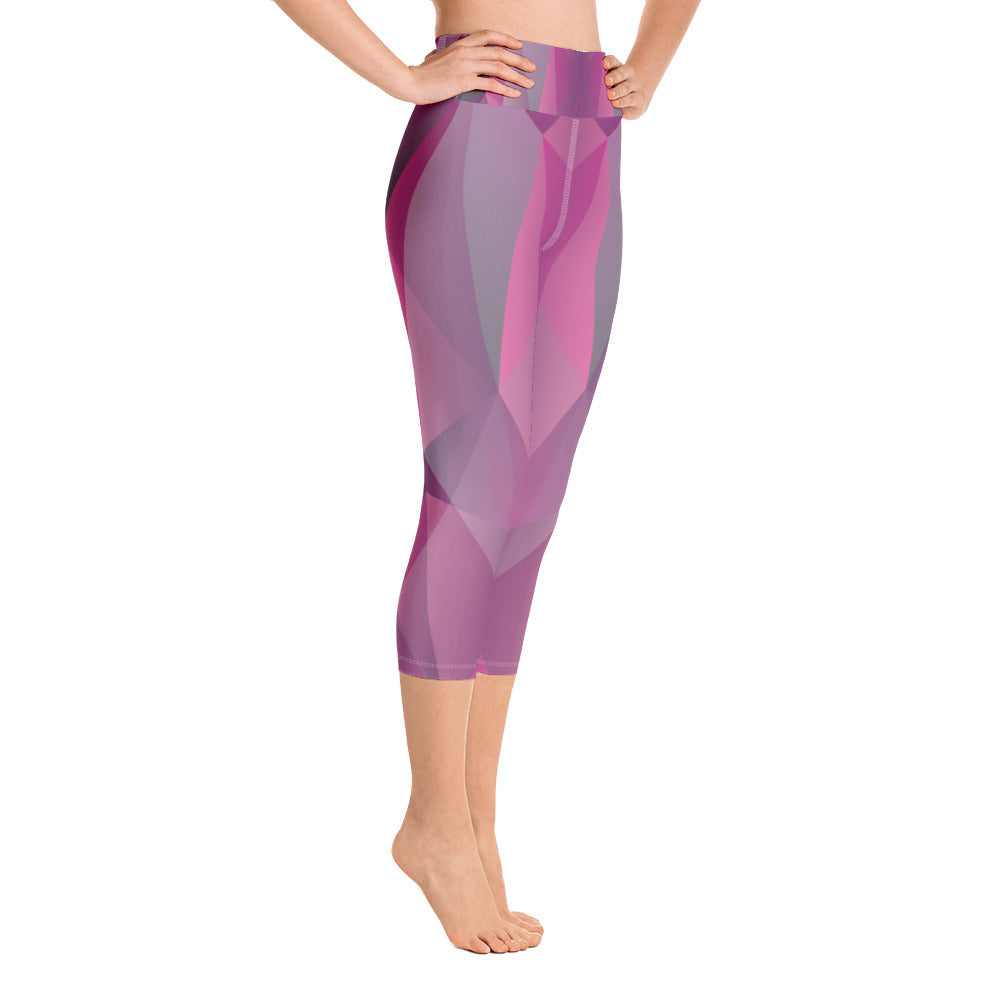 Pink and Purple with Geometric Print Yoga Capri Leggings