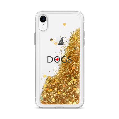 Liquid Glitter Phone Case with I love Dogs