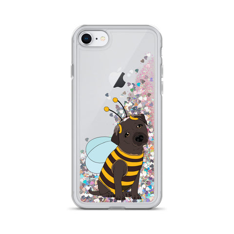 Image of Black Labrador in Bee Costume Liquid Glitter iPhone Case