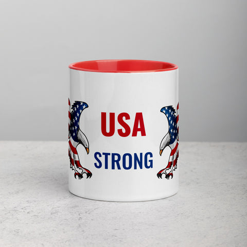USA STRONG - Mug with American Eagles Red Color Inside