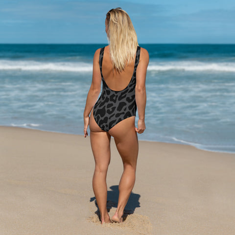 Image of Black Leopard One-Piece Swimsuit
