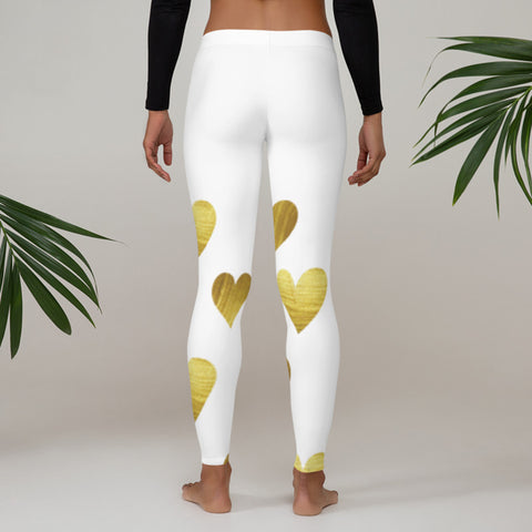 Image of White with Gold Hearts Leggings