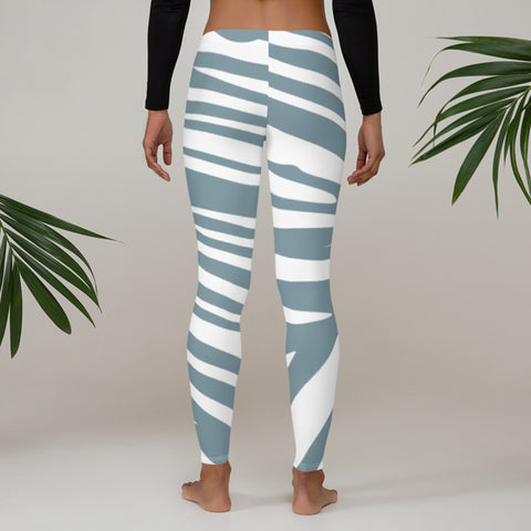 Image of Sky Blue Leggings with Zebra Print