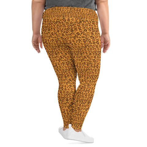 Image of Plus Size Leggings with Cheetah Print
