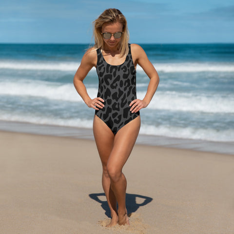 Black Leopard One-Piece Swimsuit