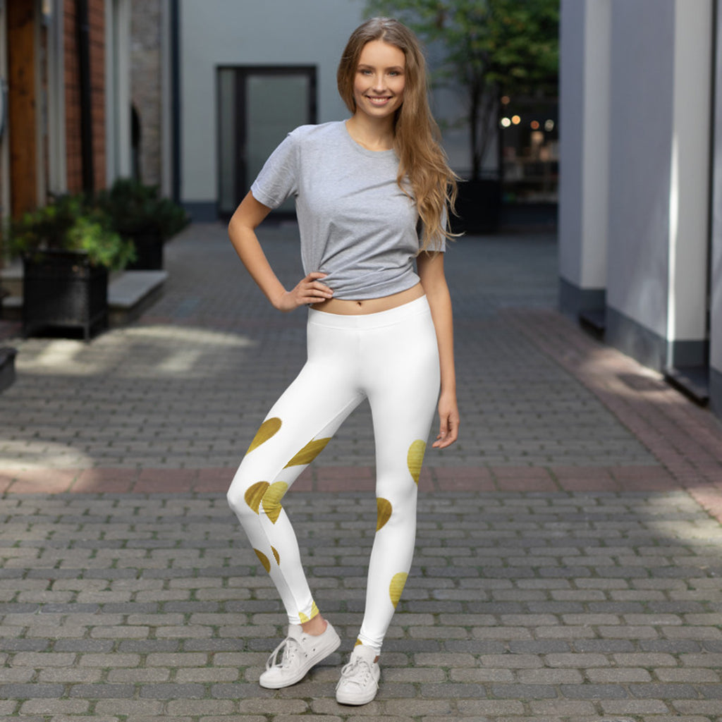White with Gold Hearts Leggings