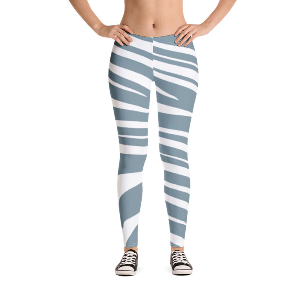 Sky Blue Leggings with Zebra Print