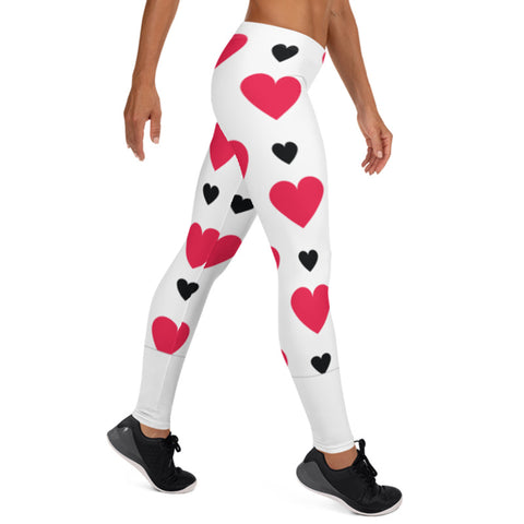 Image of Black and Red Hearts Leggings